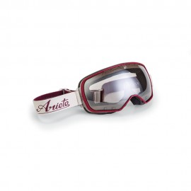ARIETE FEATHER CAFE RACER GOGGLES - CREAM/DARK RED